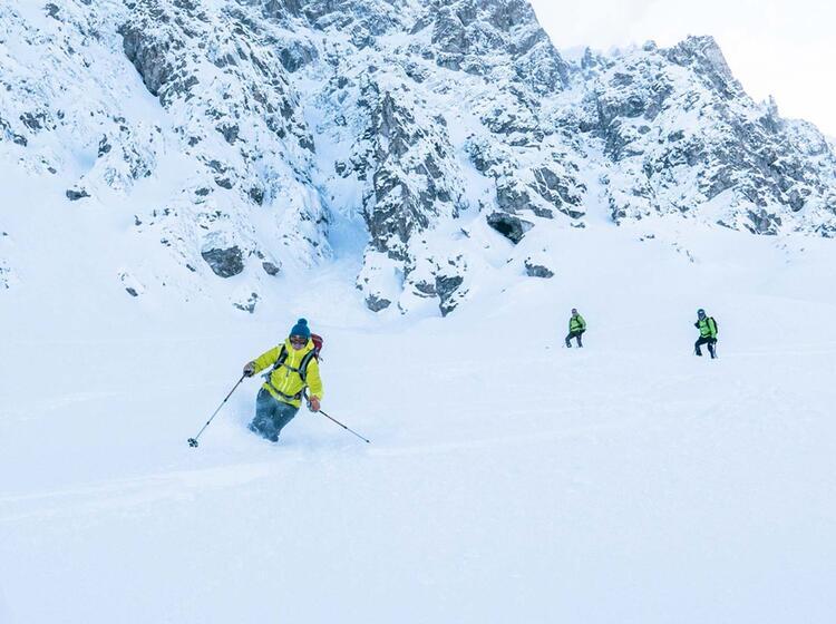 Abfahrt Vom Sattele Im Lechtal Auf Der Skitourenwoche
