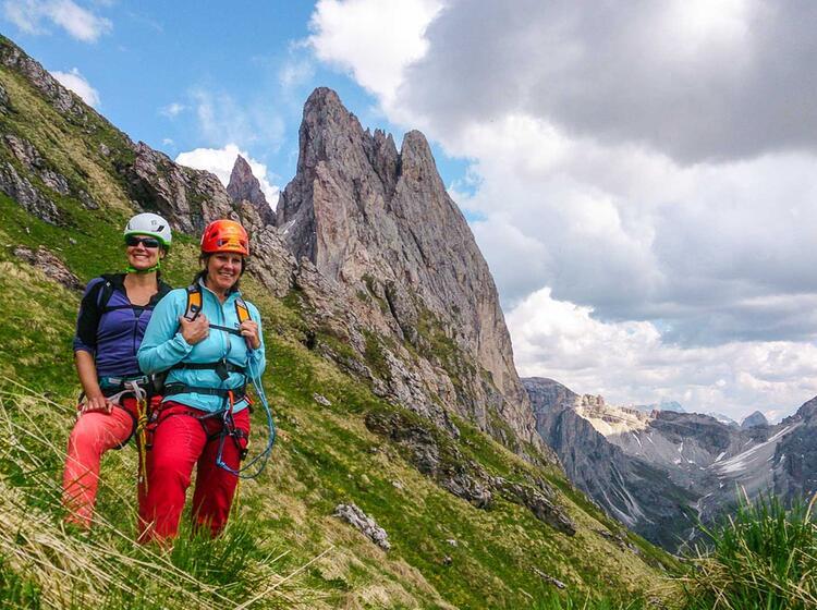 Abstieg Von Den Klettersteigen In Den Dolomiten