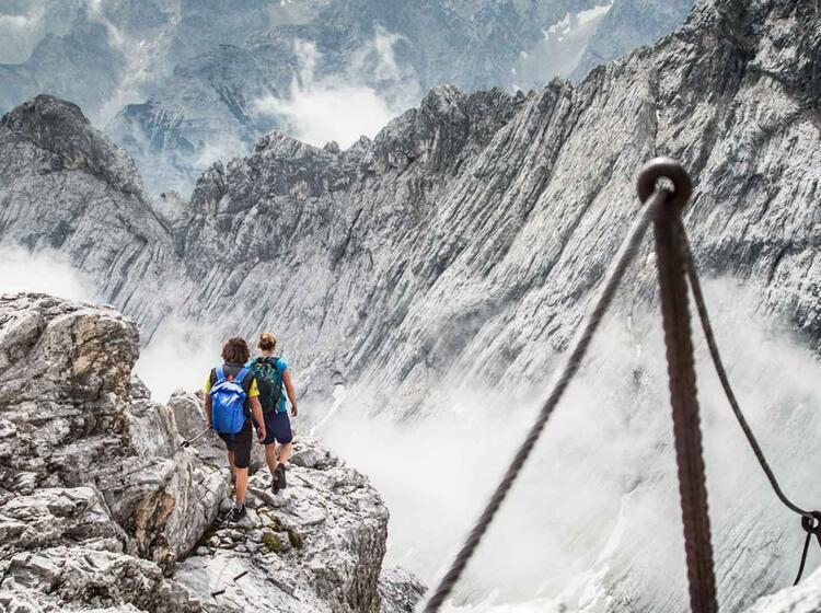Abstieg Von Der Alpspitze Nach Dem Klettersteig Ferrata