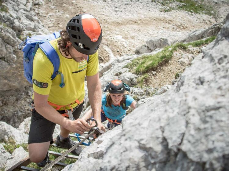 Am Klettersteig Alpspitze In Garmisch