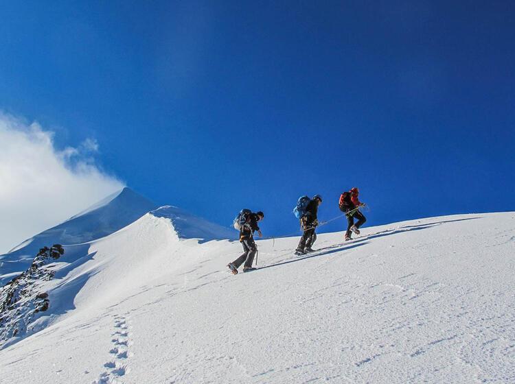 Aufstieg Vom Skidepot Zum Piz Palue