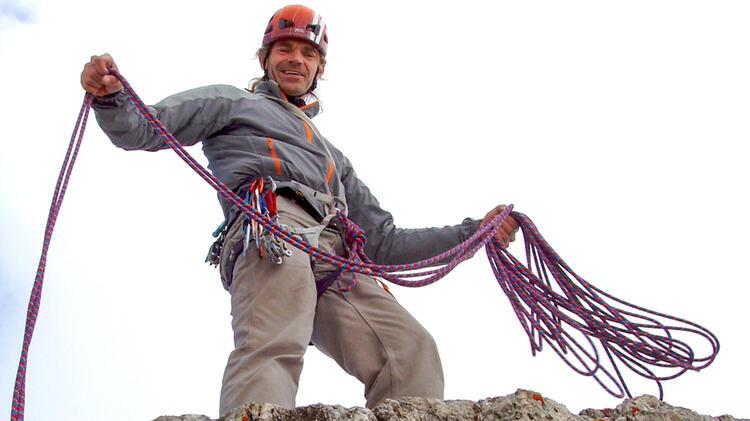 Bergfuehrer Thomas Exner Beim Alpinkletterkurs In Den Dolomiten