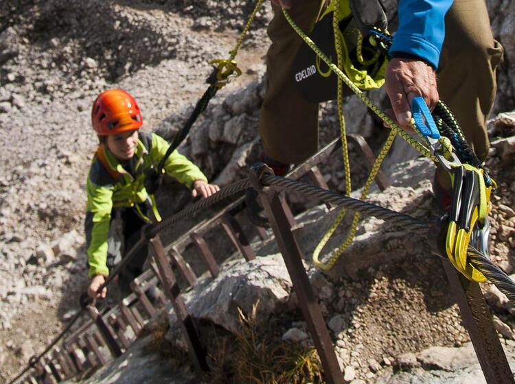 Gefuehrter Klettersteig Mit Kinder Zur Alpspitze