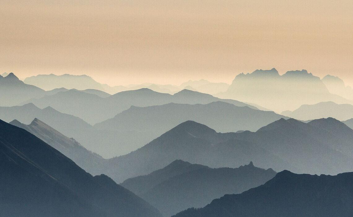 Gipfel Panorama Von Der Zugspitze Dem Hoechsten Berg Deutschlands