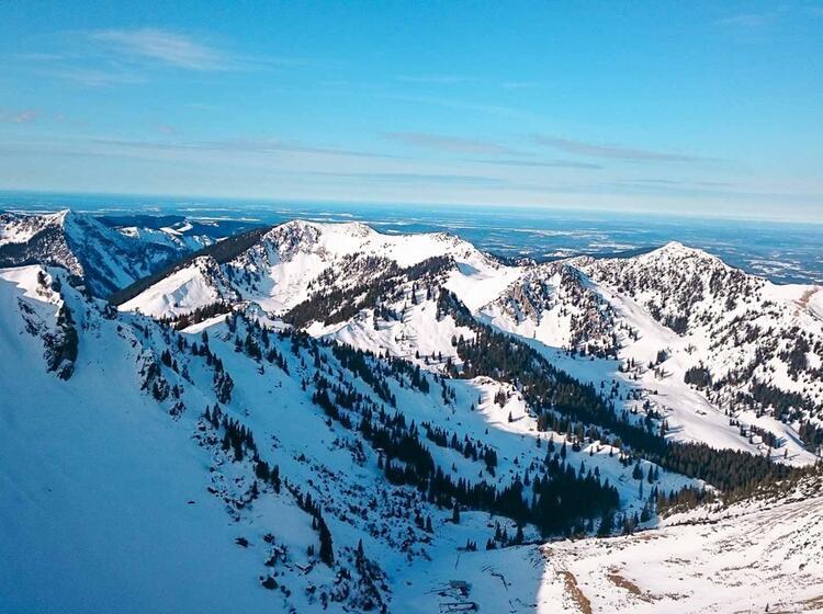Panorama Vom Gipfel Der Rotwand Am Spitzingsee Mit Schneeschuhen