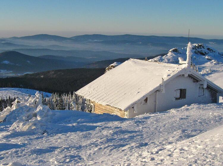 Schneeschuhwandern Bayrischer Wald Osserschutzhaus